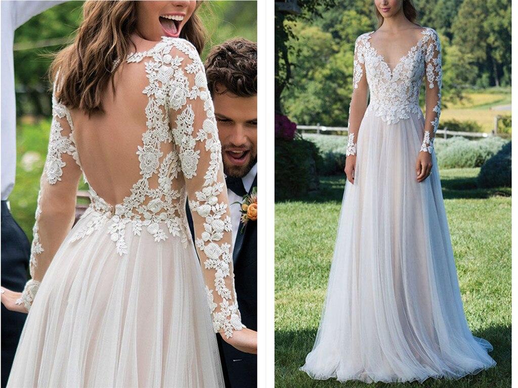 Long Sleeves Wedding Dress 2019 Backless Floor Length Appliques Lace A Line Vintage Bride Dress Wedding Gown Wedding Dresses