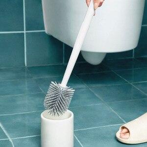 Image 5 - Youpin YJ rangement Vertical brosse de toilette colle douce poils brosse de toilette et support ensemble salle de bain pour xiaomi toilette outil de nettoyage