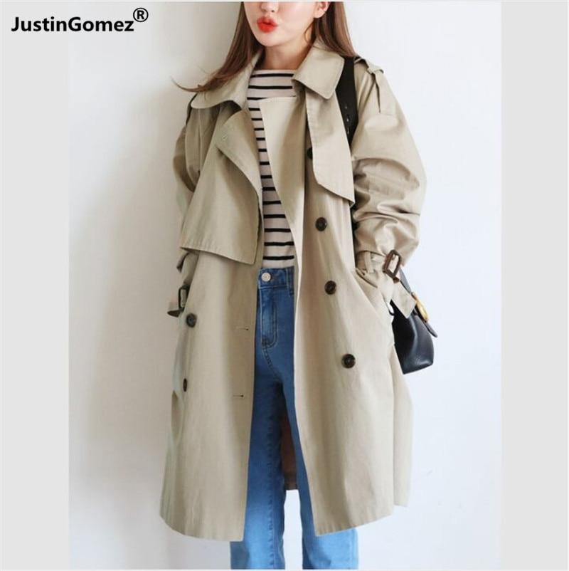 Medium Style Double-breasted Kawaii Windbreaker Oversized Loose Outwear Korean Fashion   Trench   Coat Cute Sweet Girl Wear Clothes