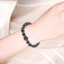 NJ Natural Black Lodestone Evil Eyes Bracelet  Matte Beads Bracelets For Women Men Accessories Jewelry Man Gift