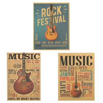 Prints Art Music Guitar Classic Nostalgic Kraft Paper Posters Paper Door Room Bar Coffee Wall Stickers Decor Living Bedroom 2021 image