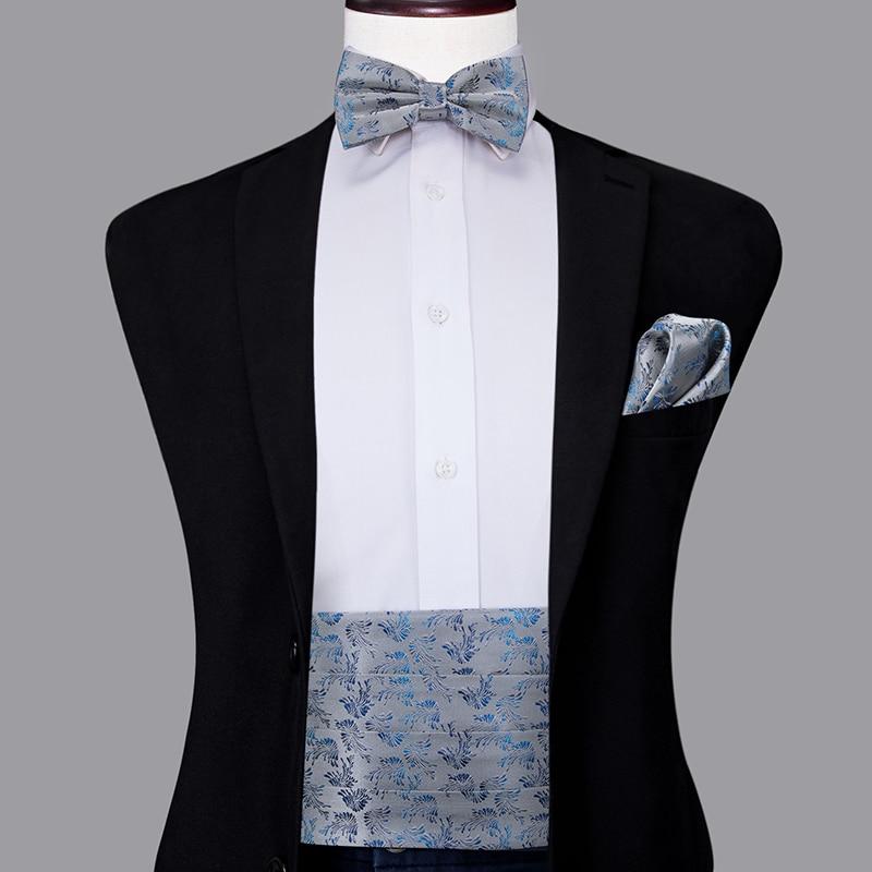 YF-2001 Hi-Tie Men's Formal Wedding Party Floral Cummerbund Bow Tie Hanky Cufflinks Set Grey Sliver Tuxedo Cummerbunds Elastic