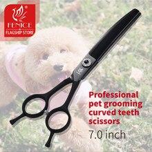 Fenice 7.0 polegada profissional cão grooming curvo desbaste dentes preto japão 440c tesouras para cães desbaste taxa 25%