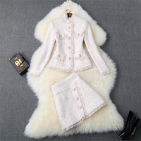 Autumn Winter Pink Tweed Set Women Stand Collar Single breasted + Wool Skirt Two Piece Set 2019