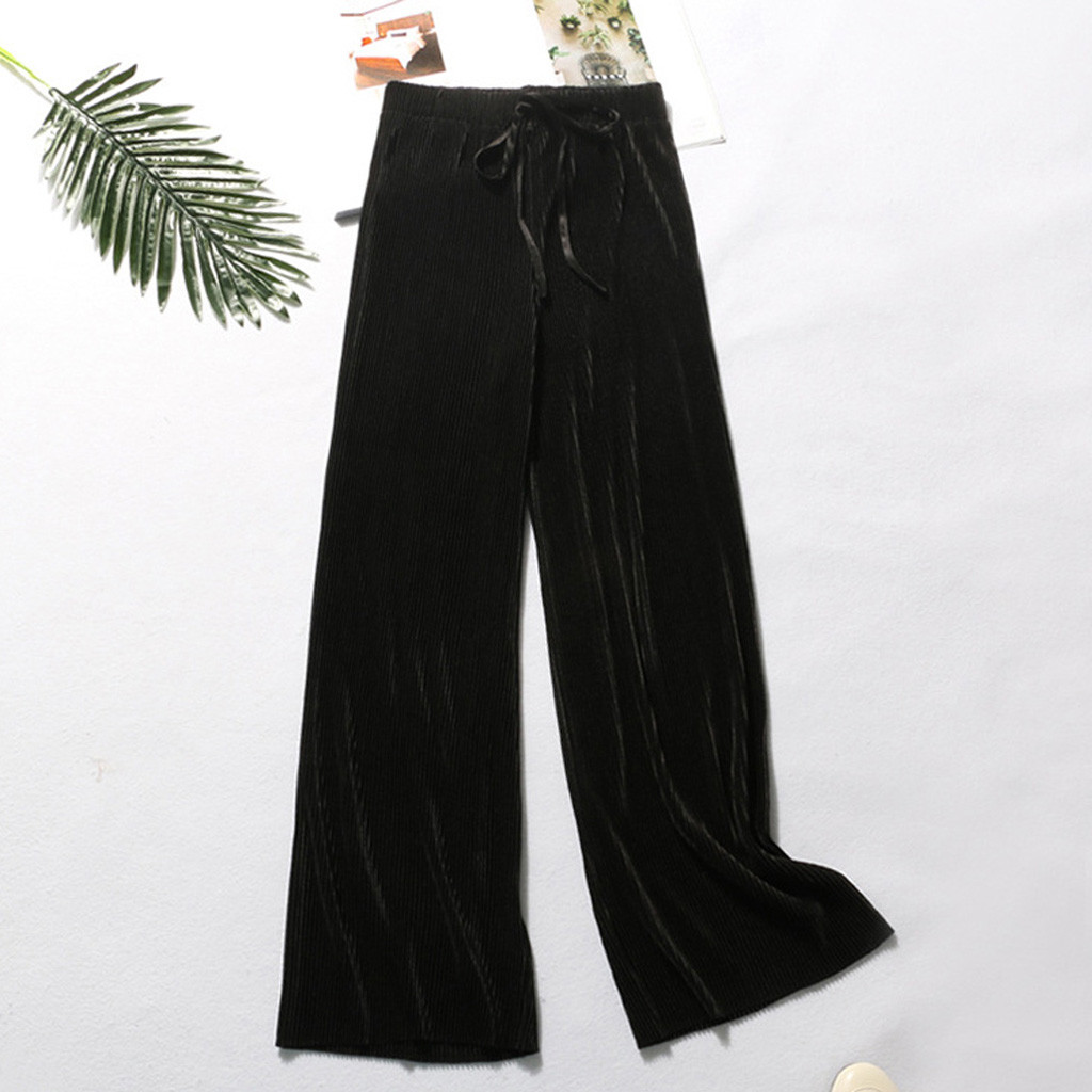 Summer Wide Leg Pants For Women Casual Elastic High Waist 2019 New Fashion Loose Long Pants Pleated Pant Trousers Femme#35