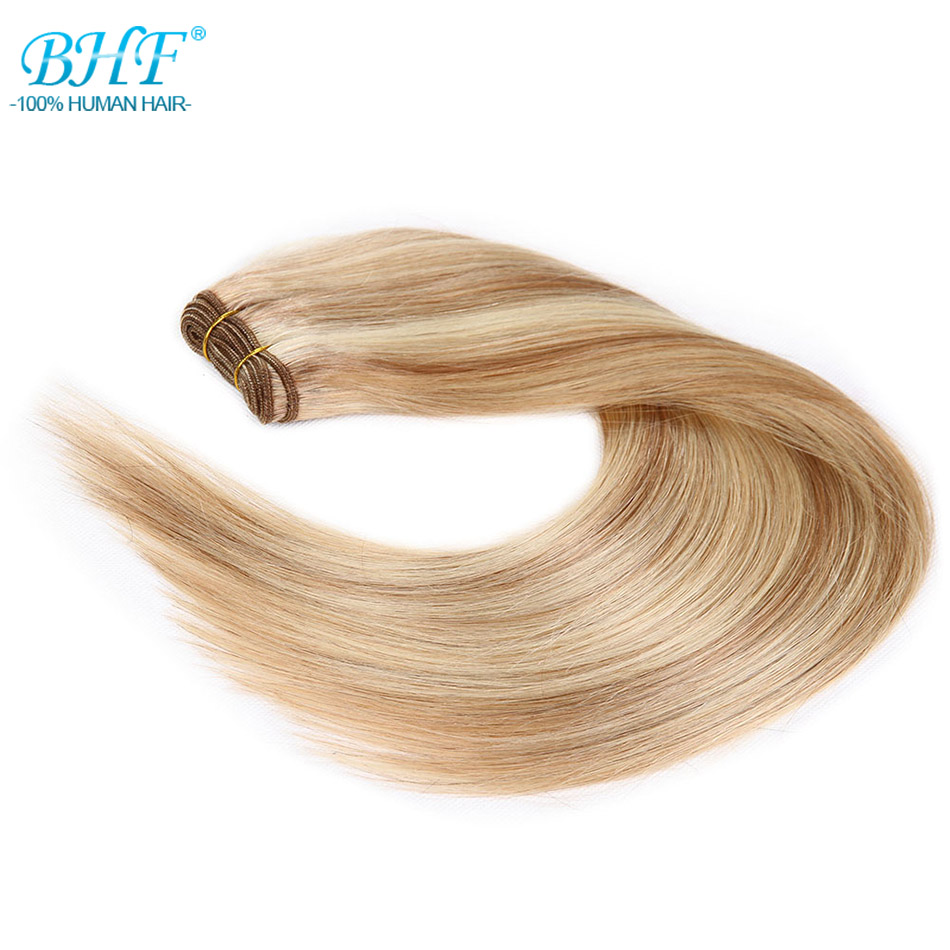 BHF Straight European Remy Human Hair Weft Platinum Blonde 100% Human Hair Weave Extensions 18