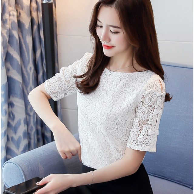 Fashion lace women blouses shirt summer short sleeve women tops hollow Lace blouse women shirt Female Blusas femininas Plus size 2