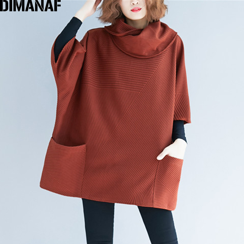 DIMANAF Plus Size Women Sweatshirts Pullovers Female Tops Shirts Turtleneck Autumn Winter Big Size Loose Casual Thick Clothing