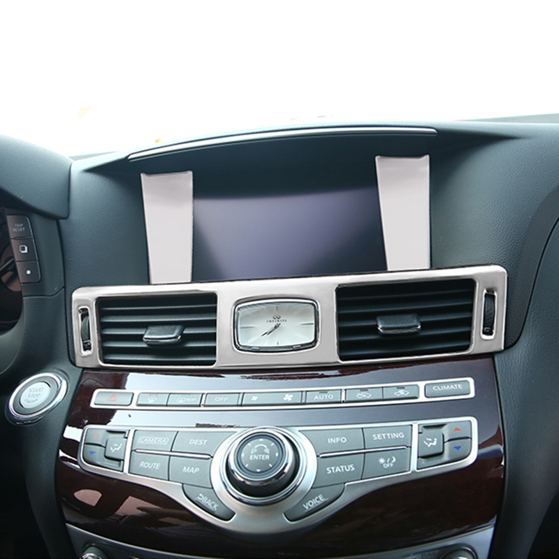 Interior Accessories Front Air Outlet Sticker Dashboard Vents Cover Decorative Trim For Infiniti Q70 Q70L M25
