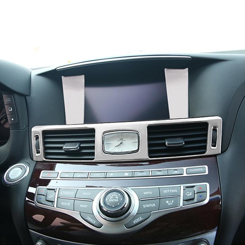 Interior Accessories Front Air Outlet Sticker Dashboard Vents Cover Decorative Trim For Infiniti Q70 Q70L M25
