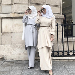 Two Piece Set pullover Top and Pant Women Dubai Muslim Abaya dress with wide leg pants Lace-up Islam Turkish Islamic Clothing
