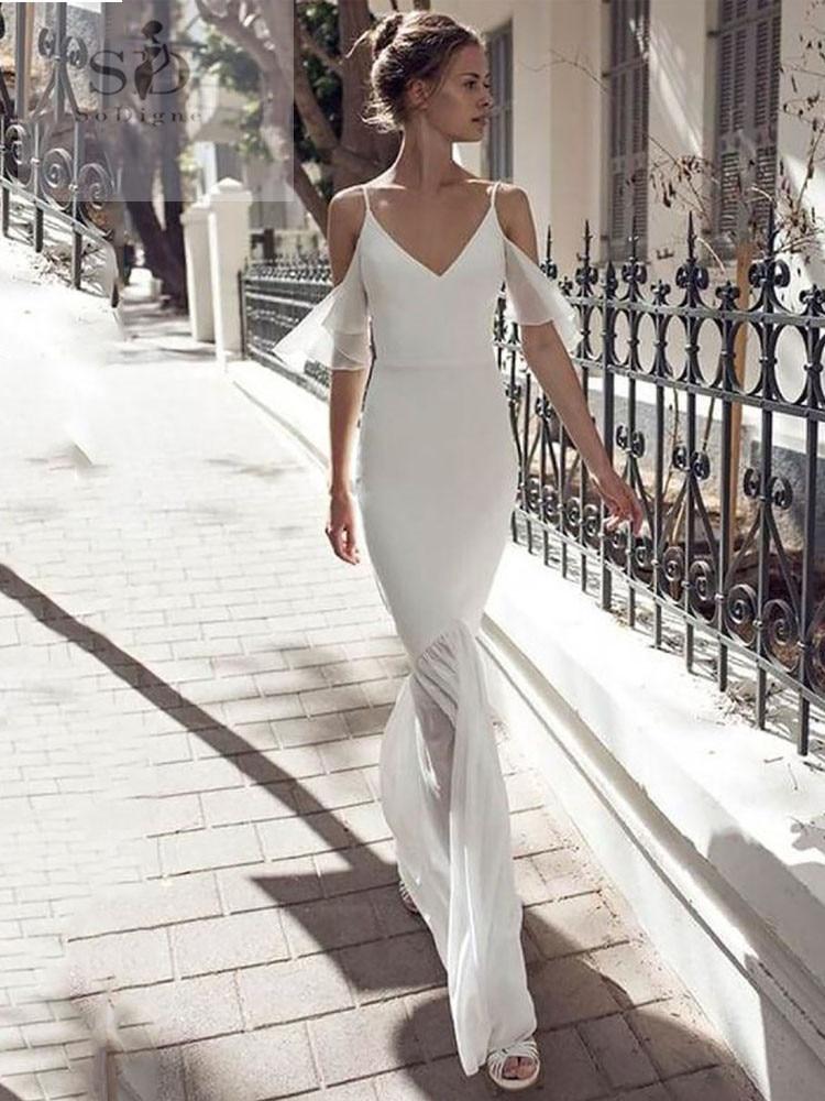 Spaghetti Straps Wedding Dress Chiffon Mermaid Formal Boho Bridal Dresses Backless Newest Coming V-neck Wedding Gowns Simple