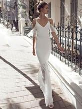 Spaghetti Straps Wedding Dress Chiffon Mermaid Formal Boho Bridal Dresses Backless Newest Coming V-neck