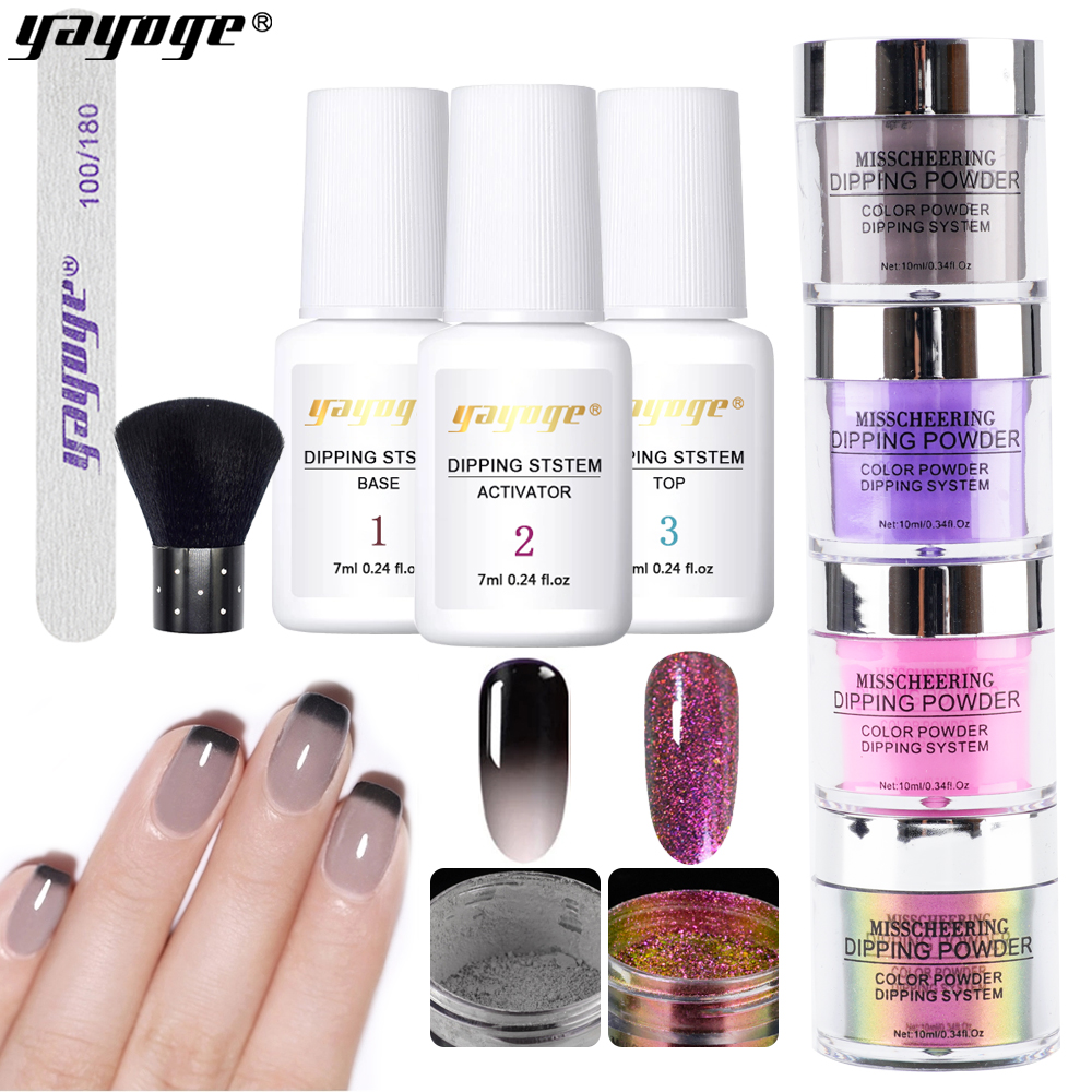 Yayoge 9PCS/ Set Changing Dipping Nail Powder Kits Glitter For Mirror Effect Nail Extension  Carved Function Nail Glitter Set