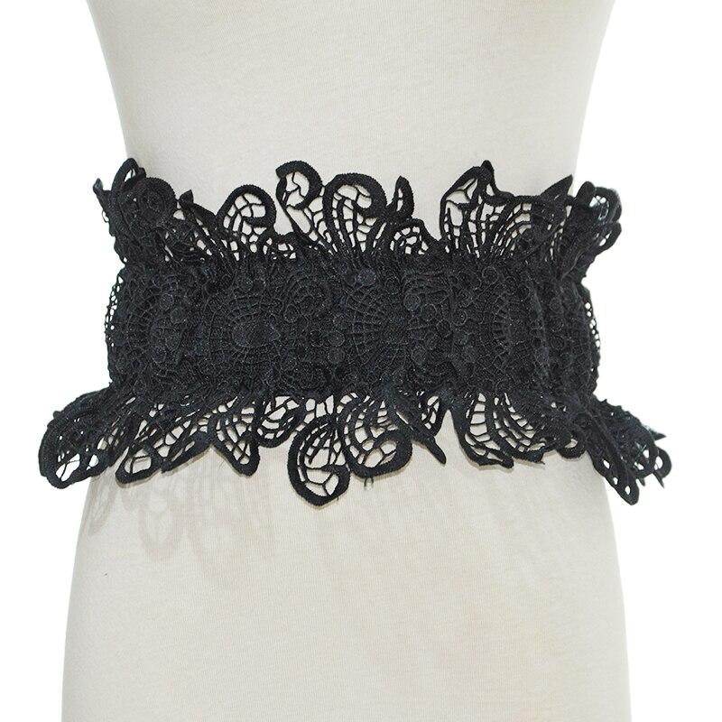 Fashion 2022 Black White Sweet Butterfly Lace Ultra Wide Waistband Women's Japanese Cute Dress Lace Waist Band Bg-1430