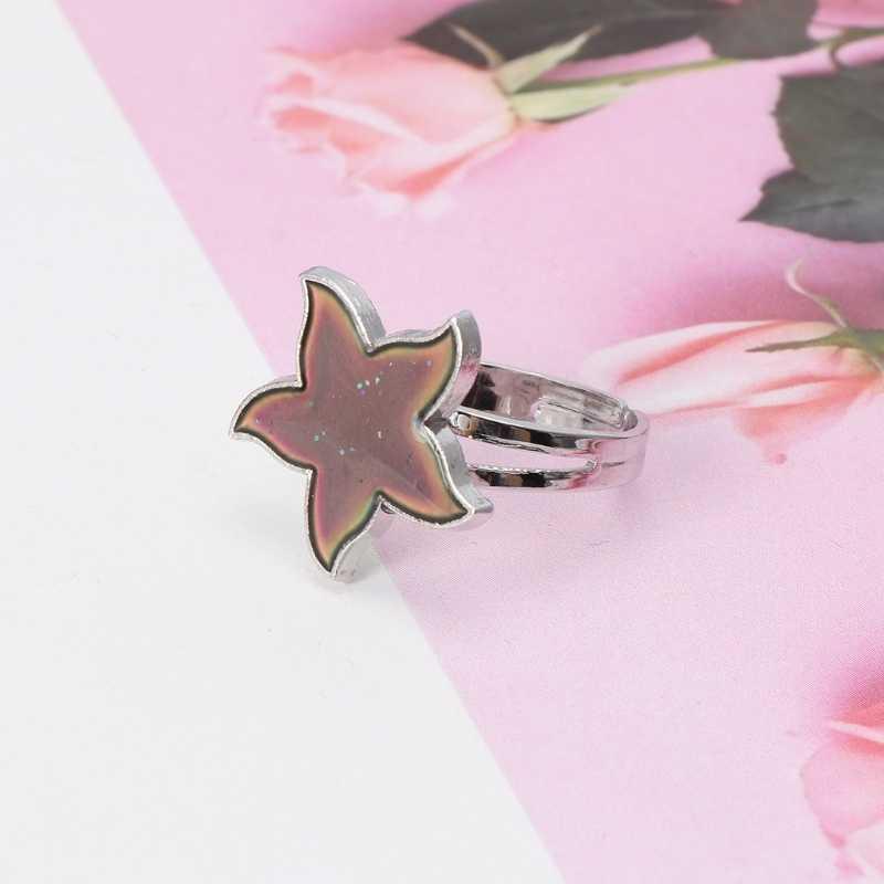 การ์ตูนปลาดาวอารมณ์แหวนอุณหภูมิอารมณ์ความรู้สึกแหวนสำหรับผู้หญิงเด็กผู้หญิงเครื่องประดับ