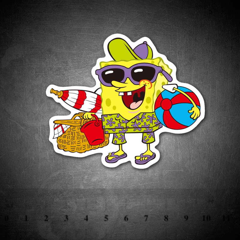 Cartoon Funny SpongeBob Stickers Skateboard Suitcase Guitar Luggage Laptop Stickers Kid Classic Toy