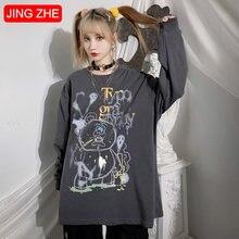 Jing zhe женские Японские футболки harajuku с длинным рукавом