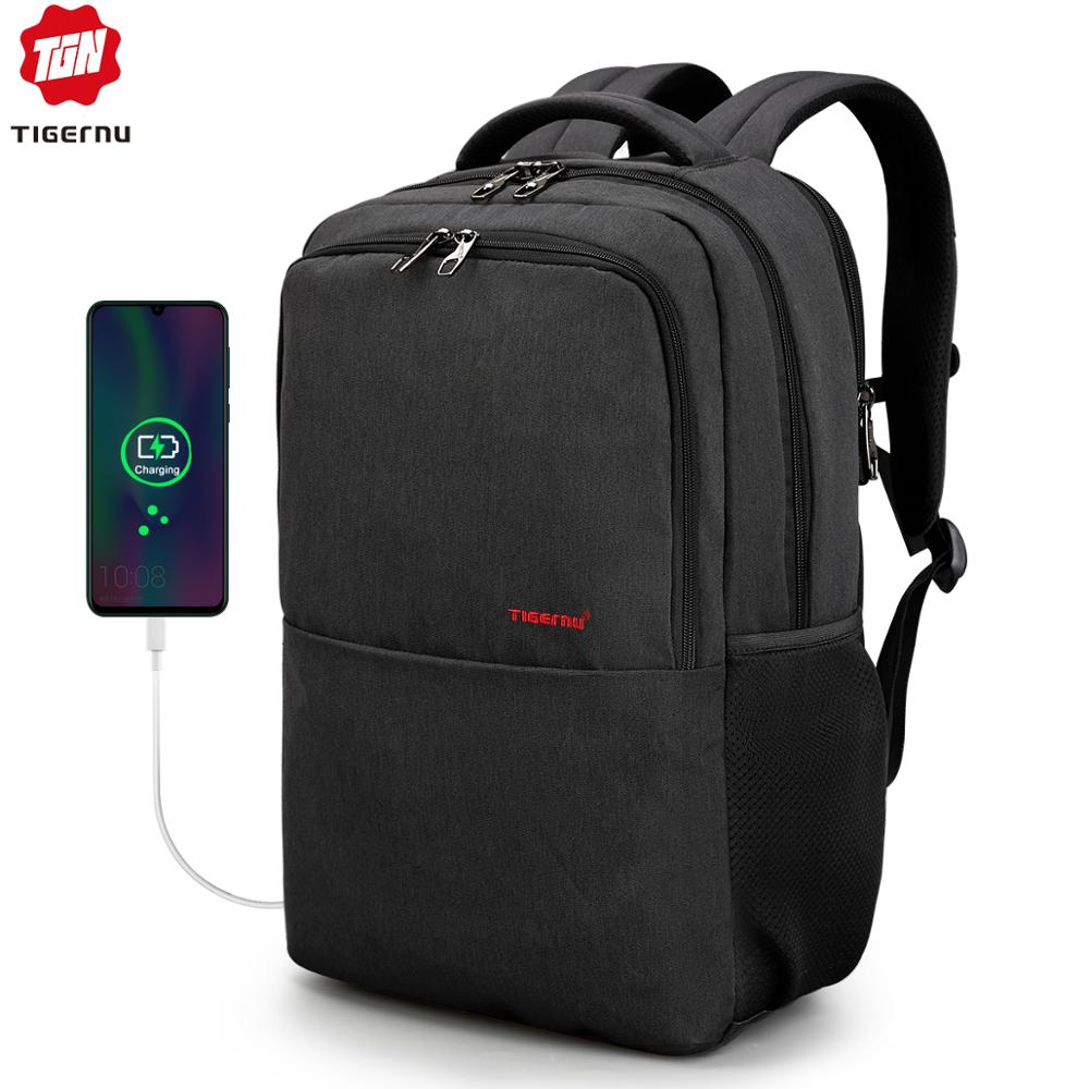 Waterproof Anti Theft Tigernu 15.6inch Laptop Backpack  Men Women Backpacks Slim School Bags Bagpack For Teens Black Grey