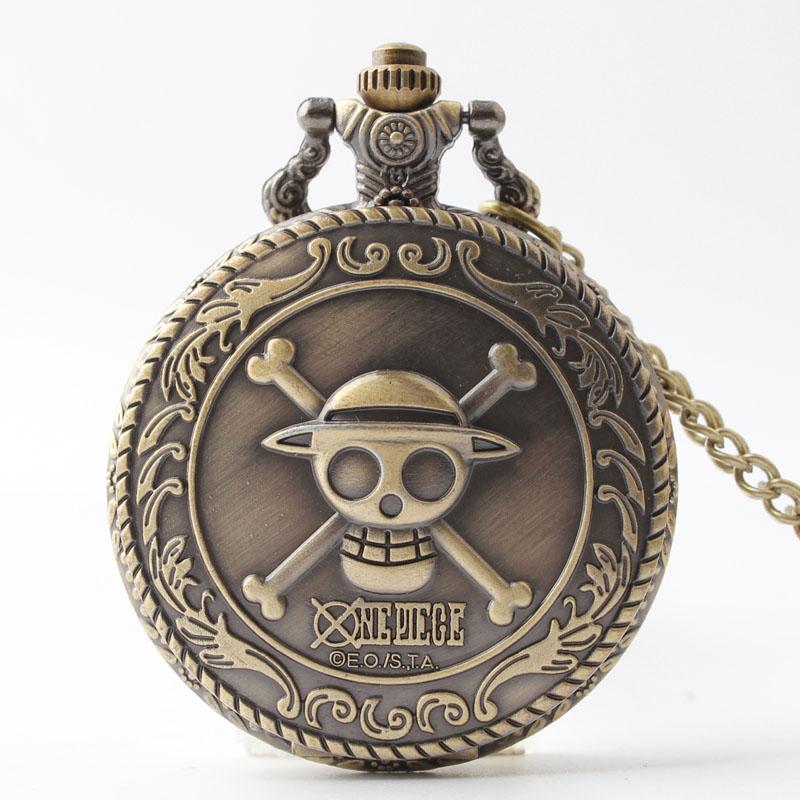 Pocket & Fob Watches  Bronze One Piece Skull Quartz  Pocket Fob Watch for Men/Women Necklace Pendant Clock Gifts