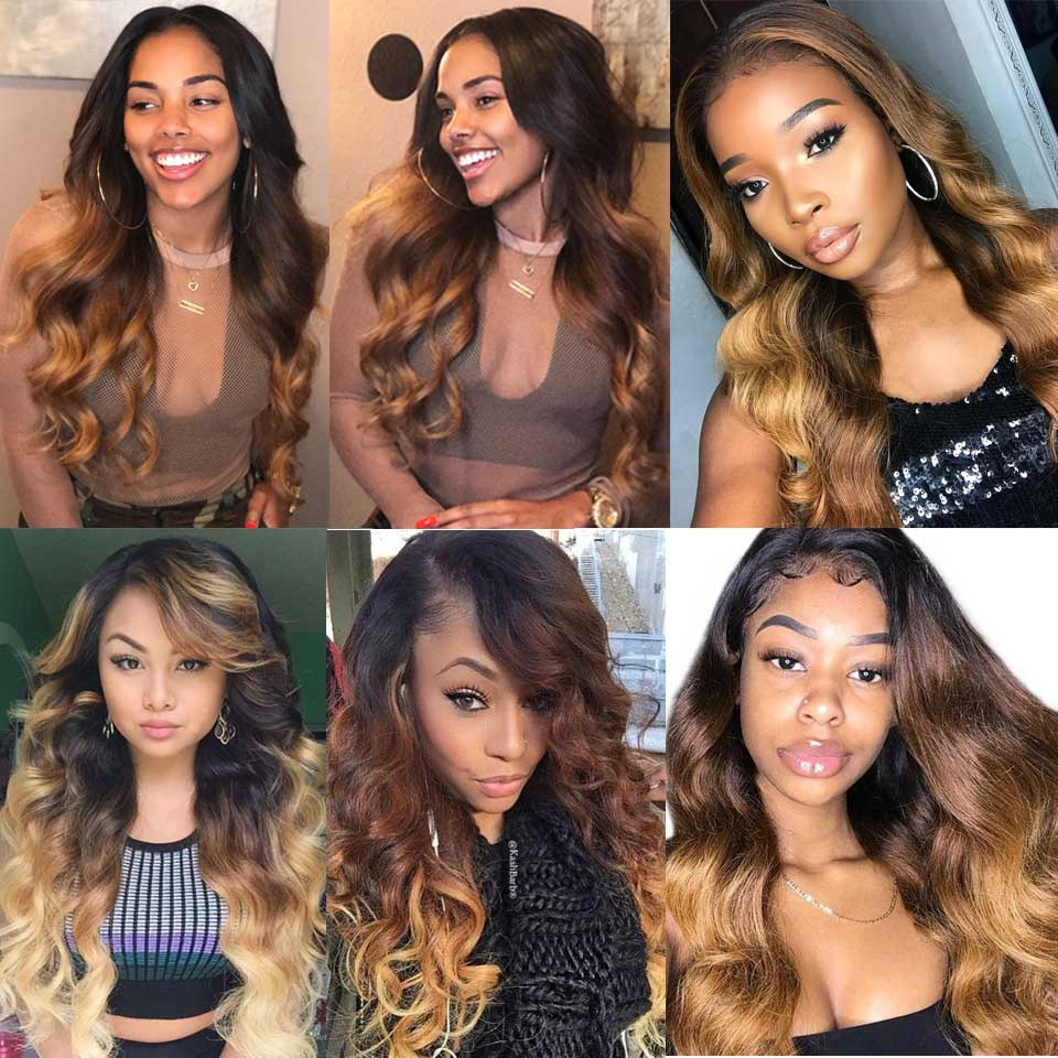 Ombre Body Wave Bundles Brazilian Hair Weave Bundles Honey Blonde Human Hair 3/4 Bundles Remy Ombre Human Hair Extensions