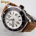 BLIGER 43 мм белый циферблат отображение даты светящийся ободок кожаный ремешок 21 jewels MIYOTA автоматические мужские часы bi13