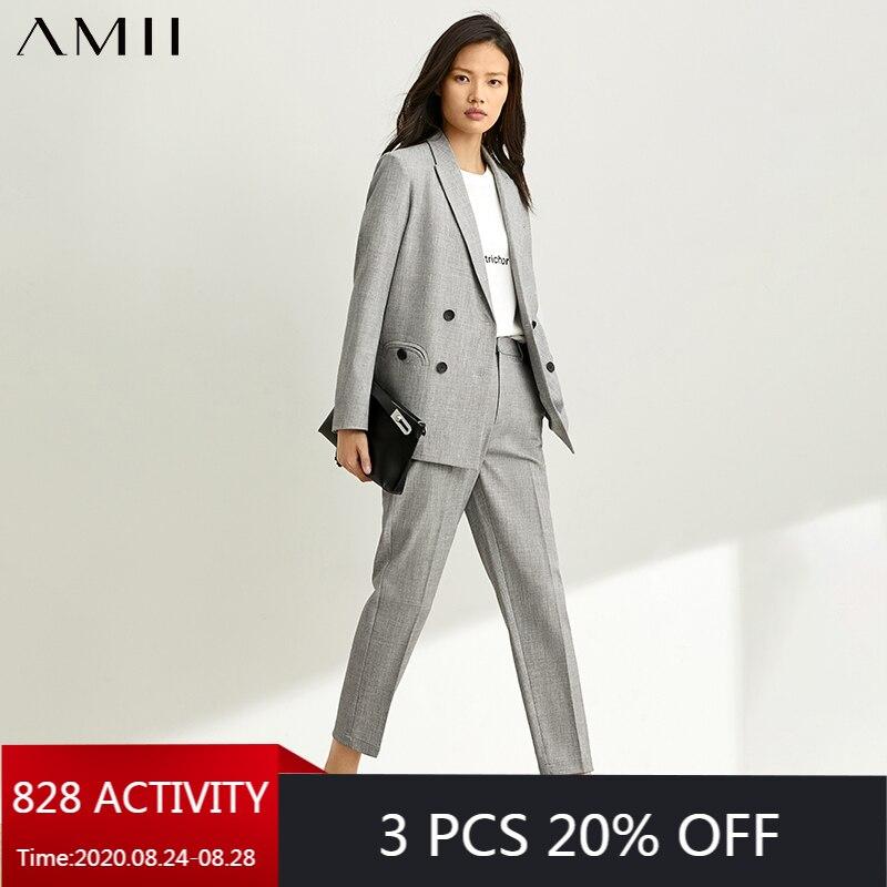 AMII Minimalism Autumn Suit Set OLstyle Lapel Double Breasted Gray Women Suit Coat High Waist Solid Ankel Length Pants 12070512