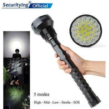 Linterna LED SecurityIng impermeable 32000 LM 24x XML T6 5 modos antorcha 26650 / 18650 lámpara de Camping linterna táctica