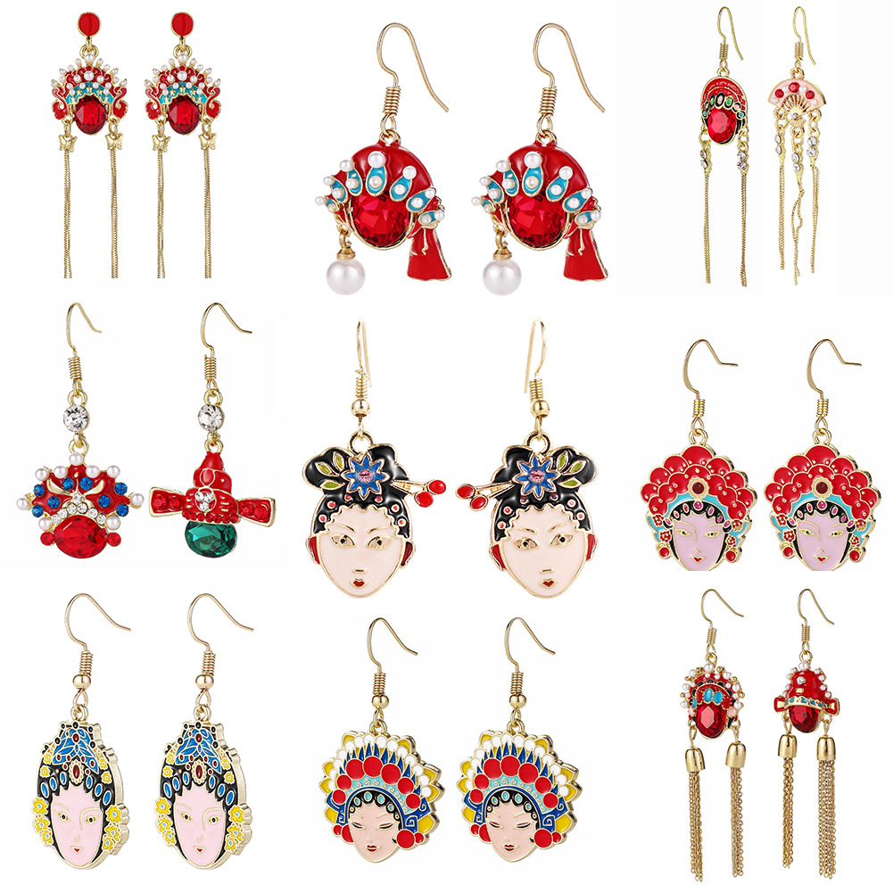 Personality Chinese Style Dangle Earrings Jewelry Ancient Peking Opera Facial Makeup Guan Gong Hat Pearl Tiara Pendant Earring