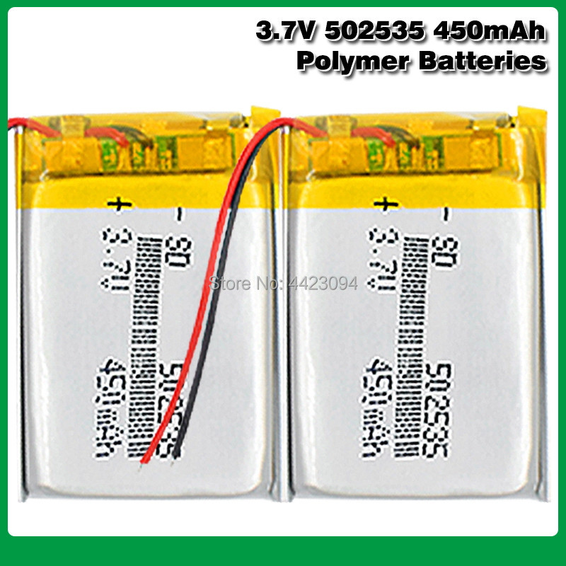 <font><b>3.7V</b></font> <font><b>450mAh</b></font> 502535 Lipo Lithium Polymer Rechargeable Battery For MP3 MP4 MP5 DIY GPS Bluetooth Headset speaker fingerprint lock image