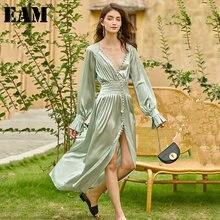 EAM-vestido largo verde plisado con abertura Irregular para mujer, vestido largo holgado de manga larga con cuello en V, moda de tendencia, primavera y otoño 2021, 1Z463