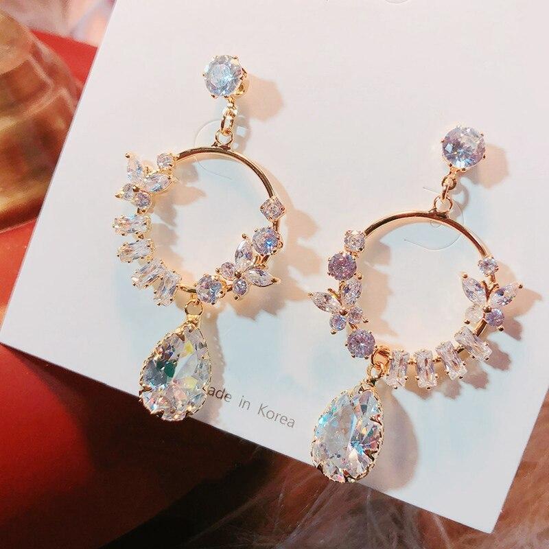 MENGJIQIAO 2020 New Korean Shiny Butterfly Crystal Circle Asymmetric Earrings For Women Waterdrop Elegant Pendientes Jewelry
