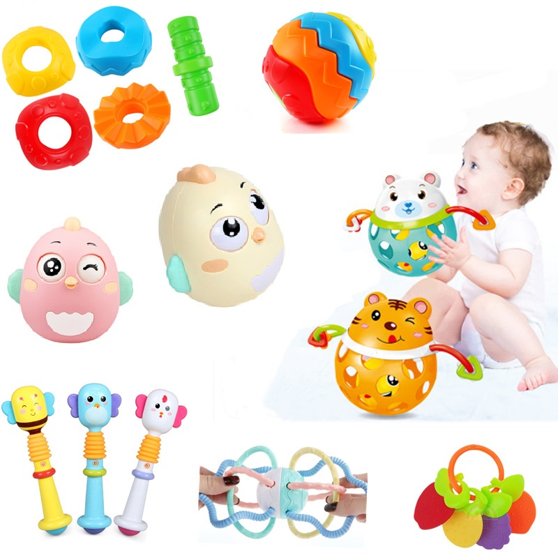 1pcs Newborn Baby Toys Nodding Tumbler Toys Bell Cute Educational Rattles Land And Water Dual Use Bath Baby Development Toys