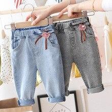 תינוק בנות פרחים חמוד נסיכת ג ינס חדש אביב ילדי ג ינס מכנסיים ילדים מתוק פנאי מכנסיים ילדים מטליותמכנסיים