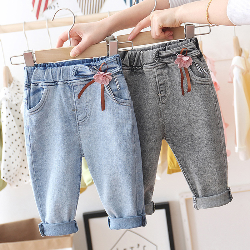 Baby Girls Flowers Cute Princess Jeans New Spring  Children Denim Trousers Children Sweet Leisure Trousers Children's Cloths