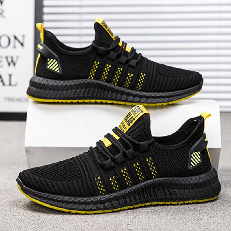 Koşu ayakkabıları erkekler 2020 moda örgü ayakkabı erkek spor ayakkabılar dantel-up hafif spor ayakkabı erkek yetişkin eğitim eğitmenler ayakkabı erkekler