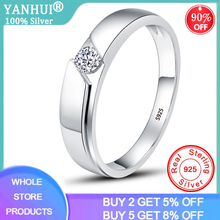 YANHI 100% 925 Sterling Silver Wedding Rings for Men and Women 4mm Round Zirconia Diamond Solitaire Ring Couple Jewelry DR11