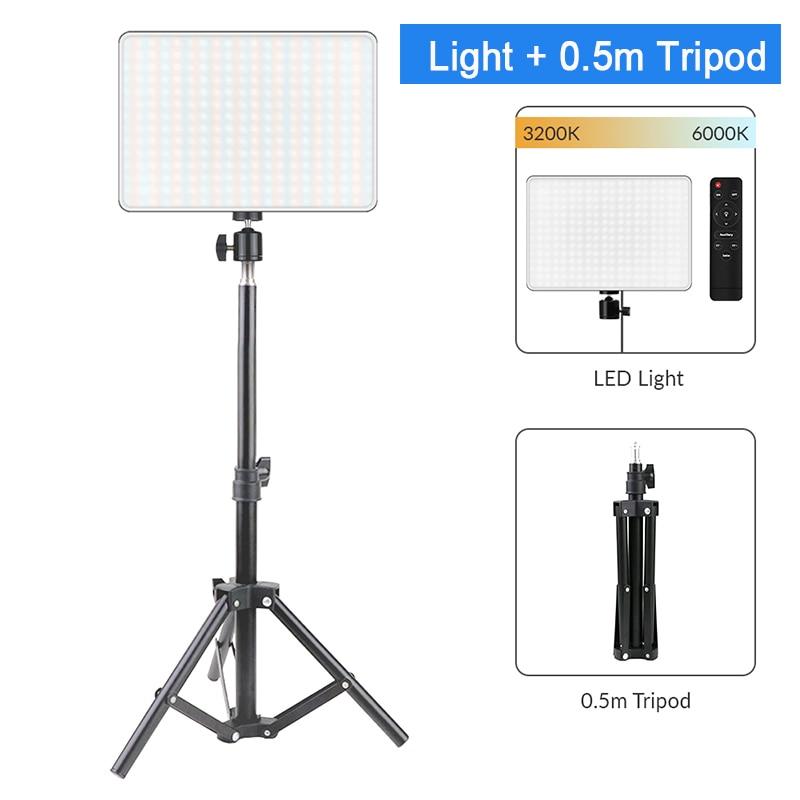Hda7b47f702d444c5b00211e9adbede64z Dimmable LED Video Light Panel EU Plug 2700k-5700k Photography Lighting For Live Stream Photo Studio Fill Lamp Three Color