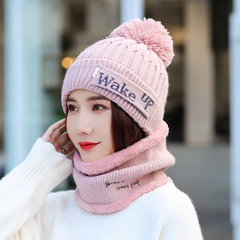 Pom Poms Winter Hat Scarf Set Women Thick Kitted Cotton Beanies And Ring Scarf Female Knitted Winter Accessories Woman's Hats