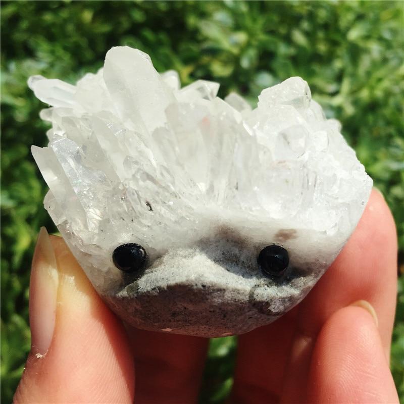 Natural Crystal Hedgehog In Stone Cluster Hedgehog Reiki Healing Gemstone Handmade Carved Decoration Crystal Animal 1pcs