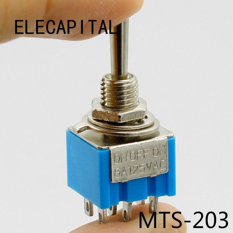 Interruptor de Palanca En Miniatura de 2 Posiciones 12 Terminales On On Conector 3A 250VAC