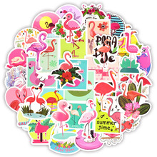 50 PCS 플라밍고 스티커 사랑스러운 꿈 만화 소녀 동물 스티커 Mac 용 DIY 노트북 수하물 냉장고 기타 노트북 데칼