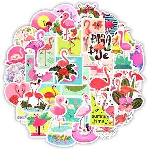 Image 1 - Наклейки с фламинго, 50 шт., наклейки с милыми мультяшными девушками и животными для Mac, наклейки для ноутбука, багажа, холодильника, гитары, ноутбука