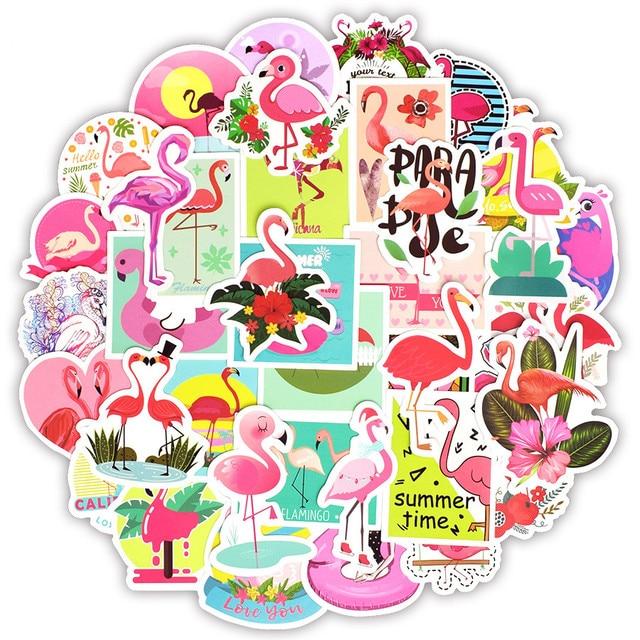 Наклейки с фламинго, 50 шт., наклейки с милыми мультяшными девушками и животными для Mac, наклейки для ноутбука, багажа, холодильника, гитары, ноутбука