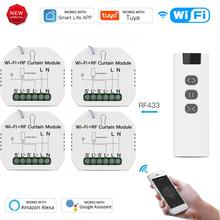 Tuya WiFi RF Roller Blind Shutter Curtain Switch Module with Remote for Electric Motor Sunscreen Works with Google Home Alexa