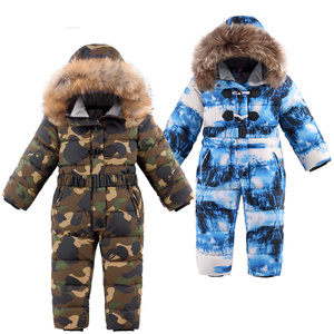 Image 3 -  30 degrees winter kids Siamese Down Jacket Waterproof down jacket for boys Large size thick ski jacket for girls jumpsuit coats