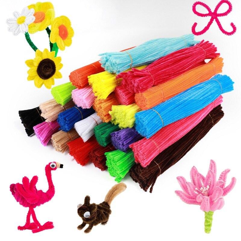 100 pièces 30cm Chenille tiges tuyaux nettoyeurs enfants jouets éducatifs à la main coloré Chenille tiges tuyau pour bricolage artisanat fournitures