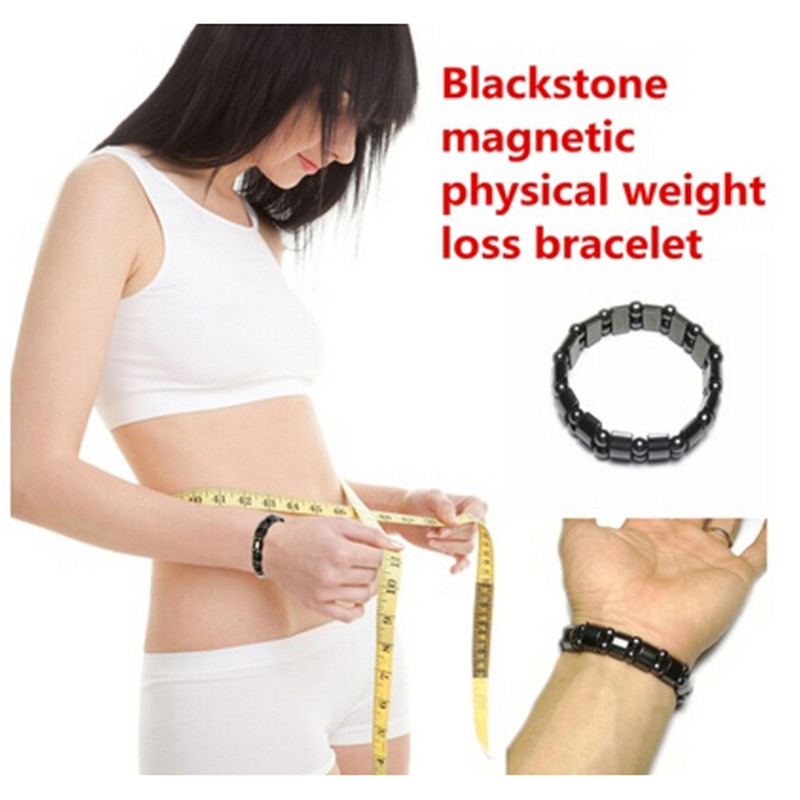 Weight Loss Round Black Stone Magnetic Therapy Bracelet Health Care Magnetic Hematite Stretch Bracelets Unisex
