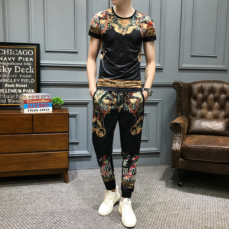 2020 Spring High Quality Tracksuit Top And Pants Men Fashion Print Short Sleeve T Shirt 2 Piece Set Men Slim Fit Outfits Men Set