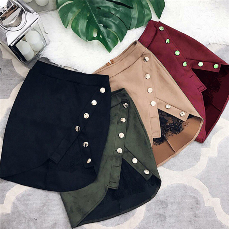 New Fashion Women Ladies High Waist Pencil Skirts Button Lace Patchwork Sexy Bodycon Suede Leather Split Party Casual Mini Skirt image